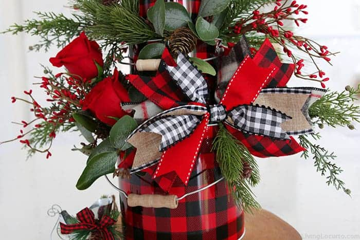 Christmas Centerpiece Buffalo Check Ribbon Bow Home Decor Craft