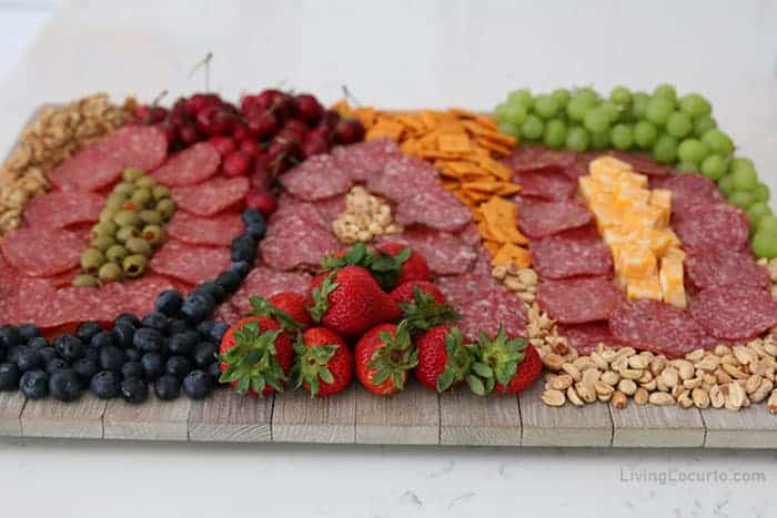 Fathers Day Charcuterie Board with meat and fruit