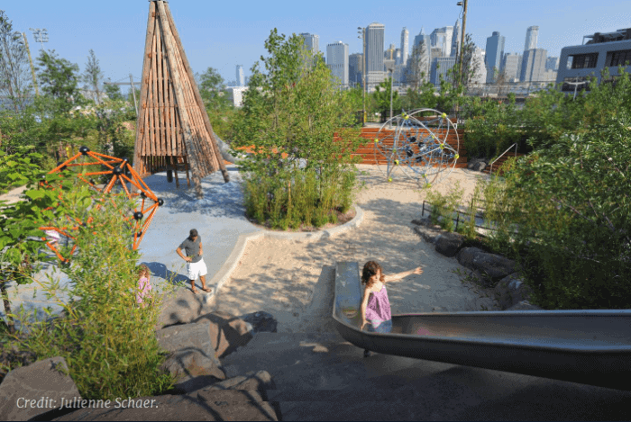 Pier 6 is nyc playground in brooklyn bridge park, brooklyn