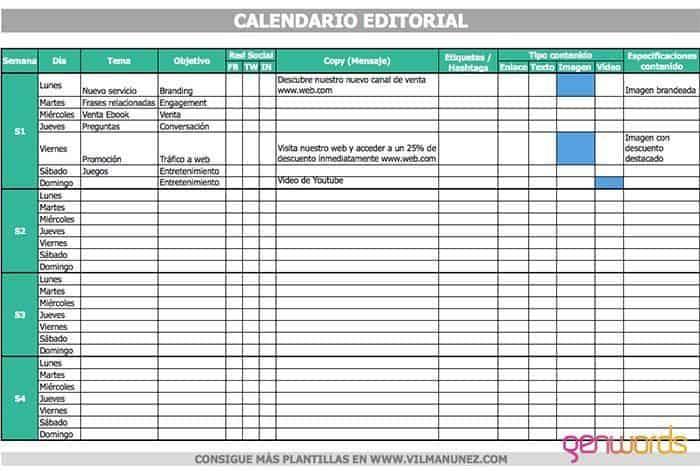 calendario editorial redes sociales