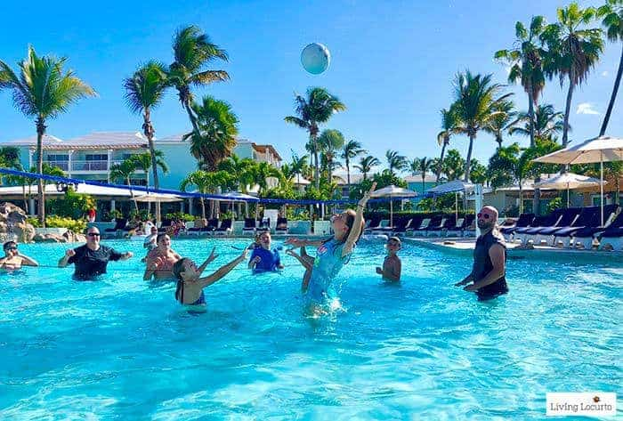 Beaches Pool Volleyball. Learn all about Beaches Resorts in Turks & Caicos to plan your next family trip! All-Inclusive Caribbean vacation travel review by Amy Locurto Food and Travel Blogger.