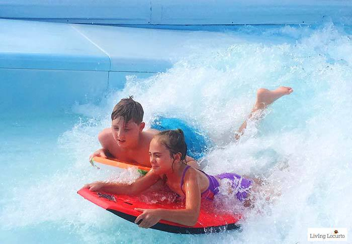 Boogie boarding surf simulator for kids at Beaches Resorts in Turks & Caicos to plan your next family trip! All-Inclusive Caribbean vacation travel review by Amy Locurto Food and Travel Blogger.