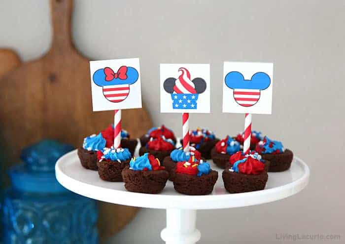 Disney Mickey Mouse July 4th Printables Tags on Brownies