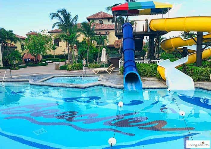Waterslide pool for kids. Learn all about Beaches Resorts in Turks & Caicos to plan your next family trip! All-Inclusive Caribbean vacation travel review by Amy Locurto Food and Travel Blogger.