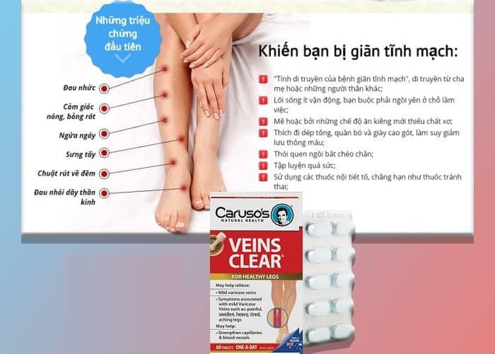 Thuốc Veins Clear 60 viên của Úc - hiệu quả trong điều trị suy giãn tĩnh mạch