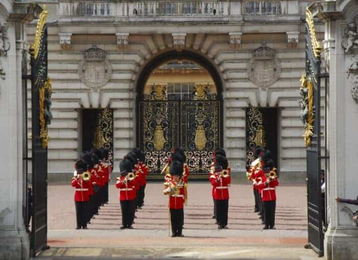 The Queen's Guardsmen outside of Buckingham Palace