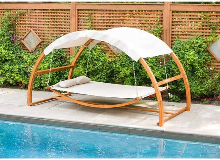 15 Beautiful Hanging Swing Beds - hammock bed with shade canopy
