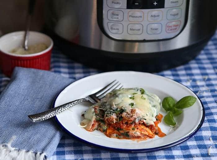 Instant Pot Ground Turkey Spinach Lasagna