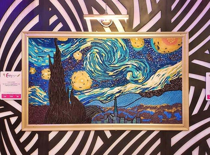 The famous painting Starry Night made out of candy