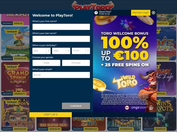 Open an account in the casino for free!