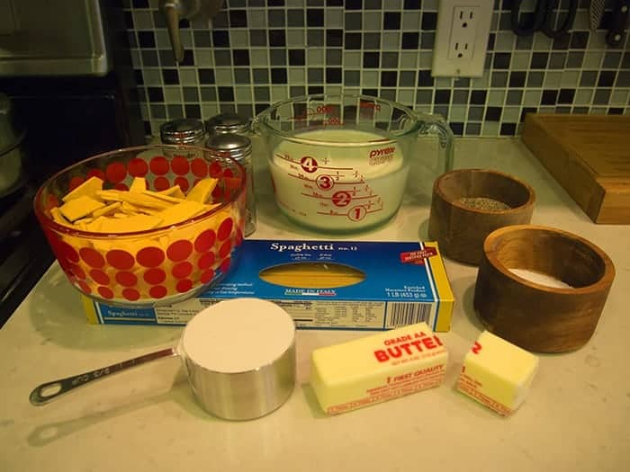 Ingredients for Baked Spaghetti Mac and Cheese