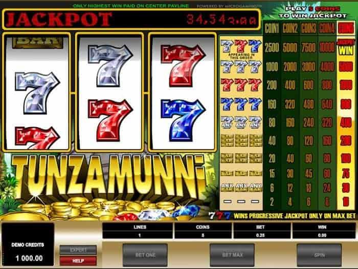 Tunzamunni jackpot free spins and bonuses
