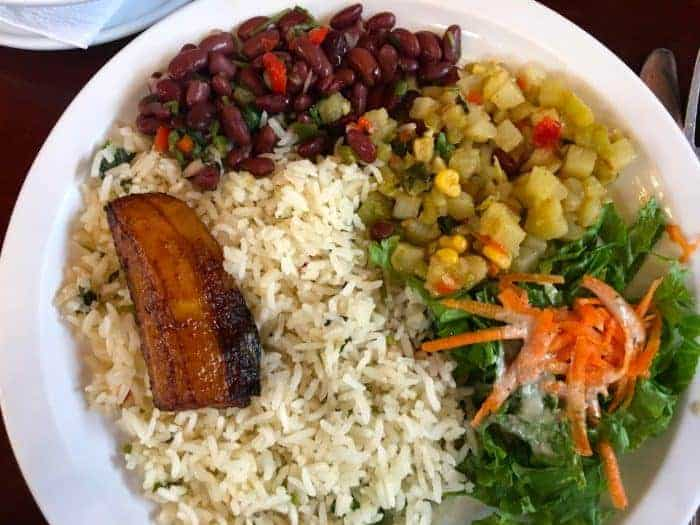 Rice, beans, salad are part of most costa rican meals
