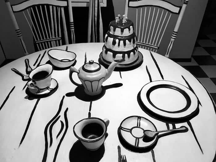Walk into a black and white cartoon set for tea in santa fe's meow wolf