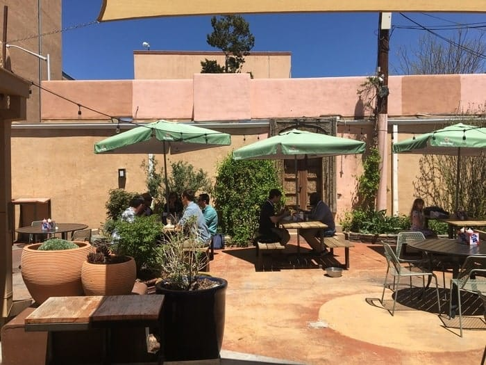 The patio of burger stand on burro alley