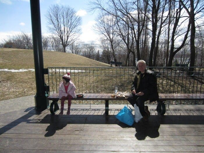 A picnic on the plains of abraham on a sunny winter day.