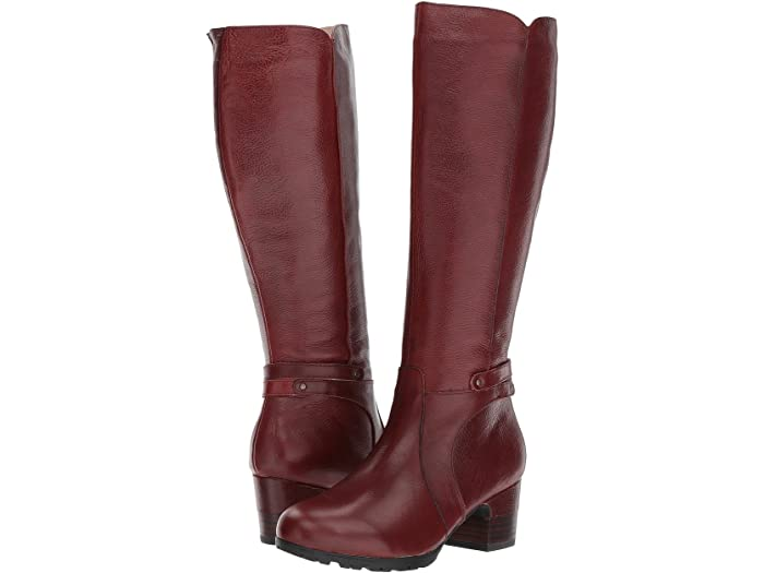 Jambu's wine-colored chai boot is funky and fun for fall with a chunky black heel and lots of detail.