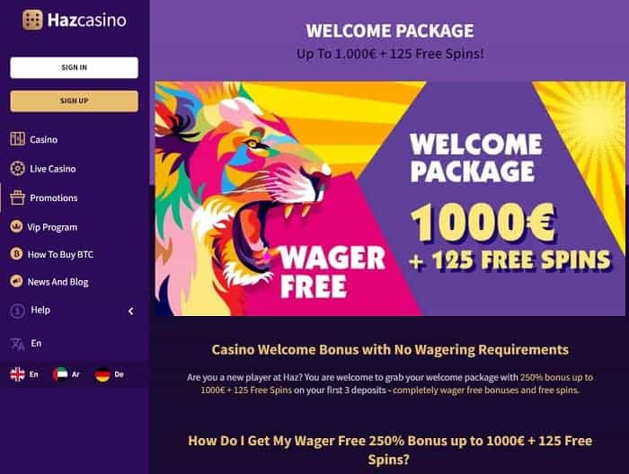 1000 EUR and 125 free spins on new slots