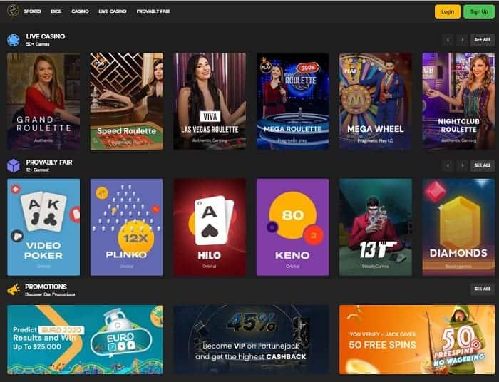 FortuneJack Casino ProvablyFair Games