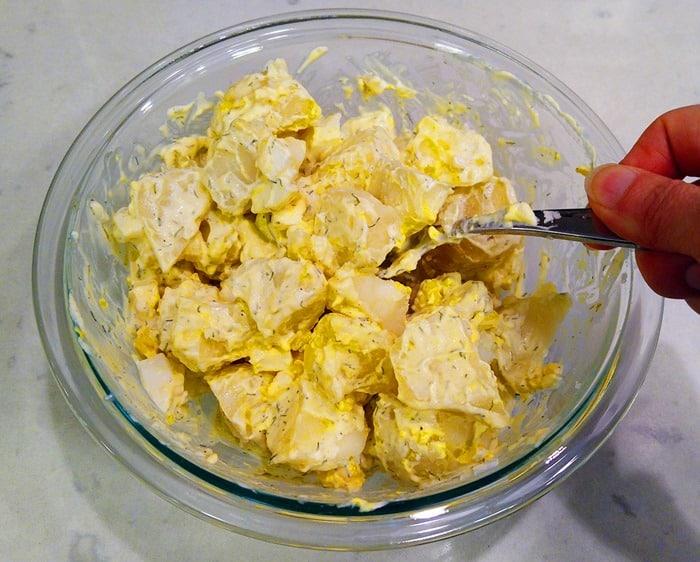 Mixing the Instant Pot Potato Salad