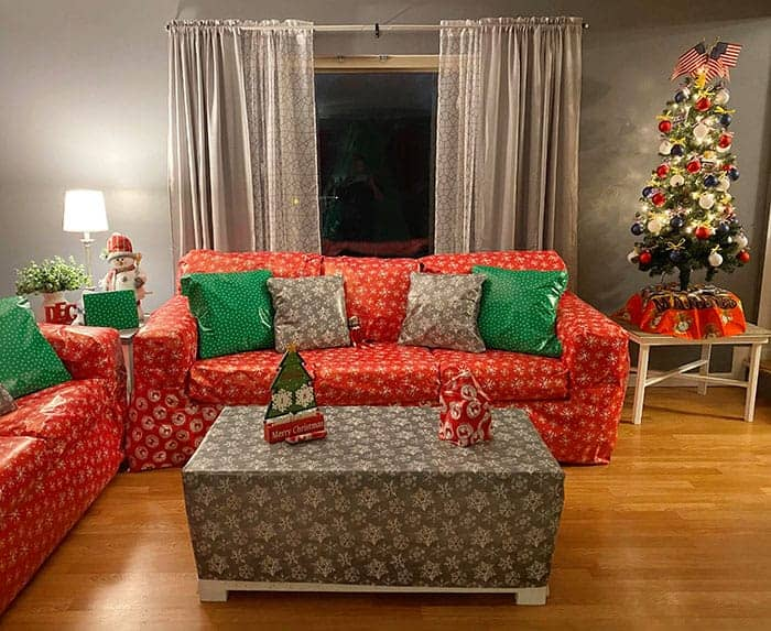 Elf on the Shelf Ideas Funny Gift Wrapped Living Room