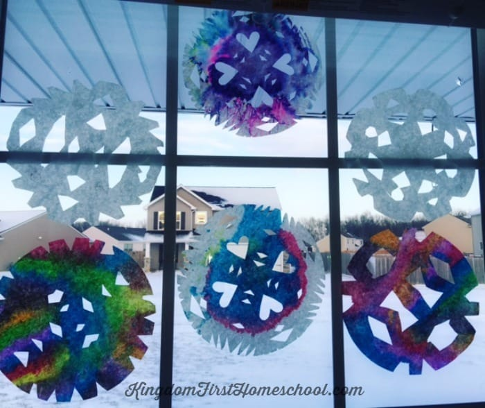 Finished Coffee Filter Snowflakes