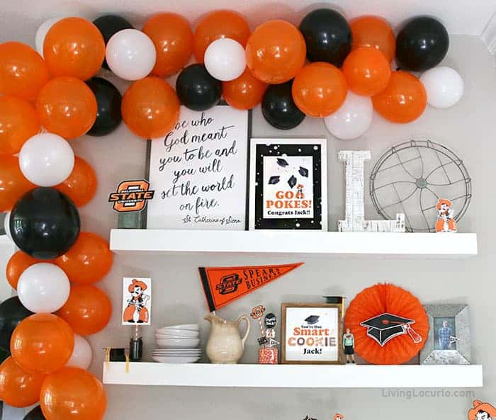 Graduation Party Ideas with dessert bar and DIY balloon arch.