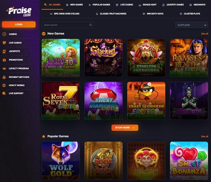 Praise Free Spins Promotion