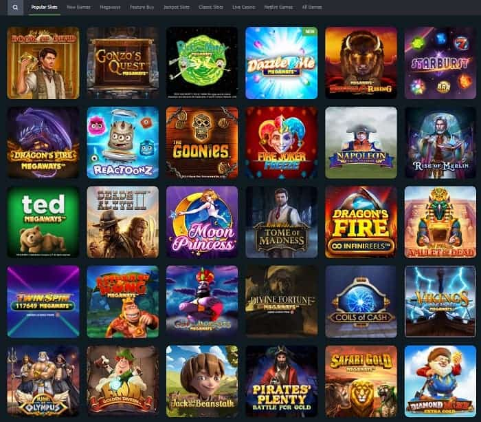 All slots and table games