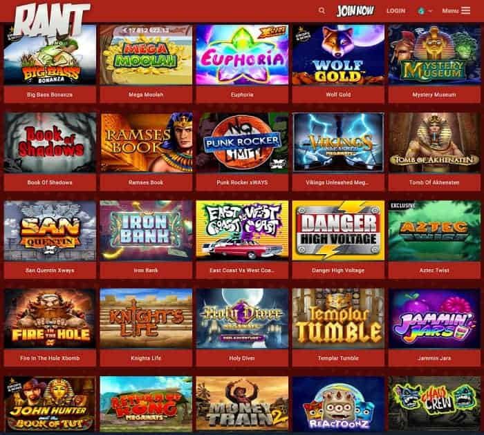 Rant Casino Register and Log In
