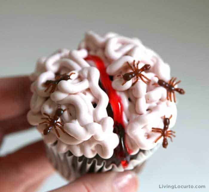 Creepy Brain Cupcakes covered in bugs! Easy Halloween party recipe idea.