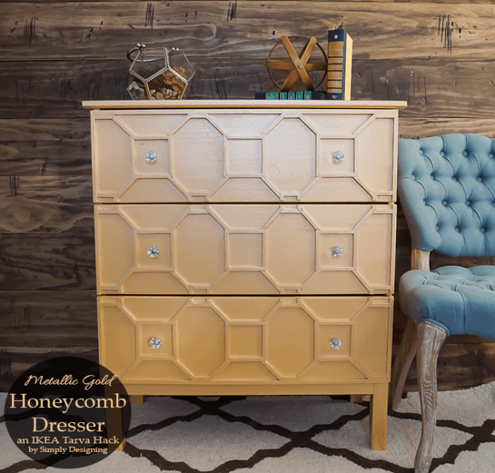 You won't believe this IKEA Hack! This beautiful art deco inspired metallic gold honeycomb dresser is an amazing transformation using an IKEA Tarva dresser and it's so easy to do.