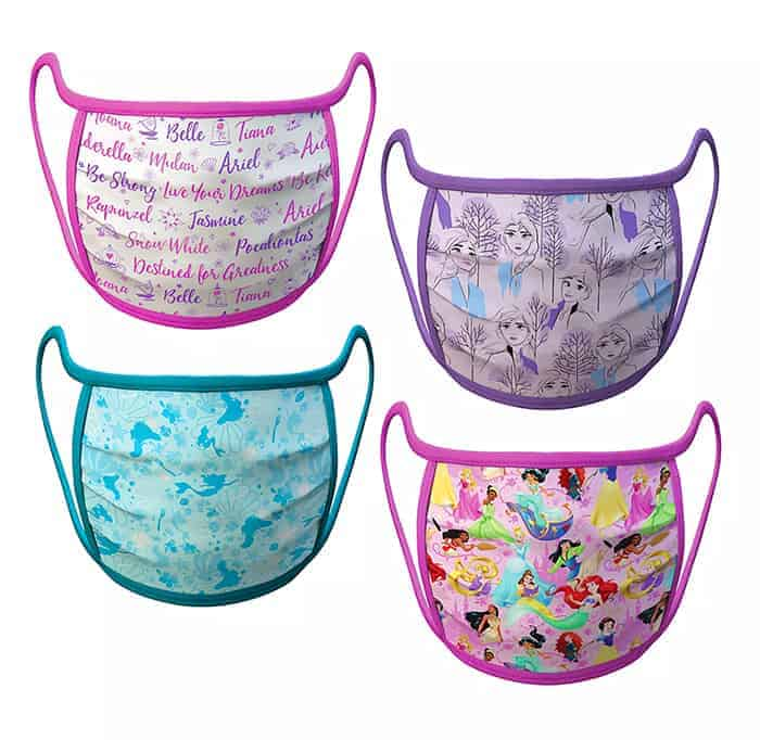 Disney fans will love these adorable cloth Disney Face Masks for adults and kids. Disney Princess Designs