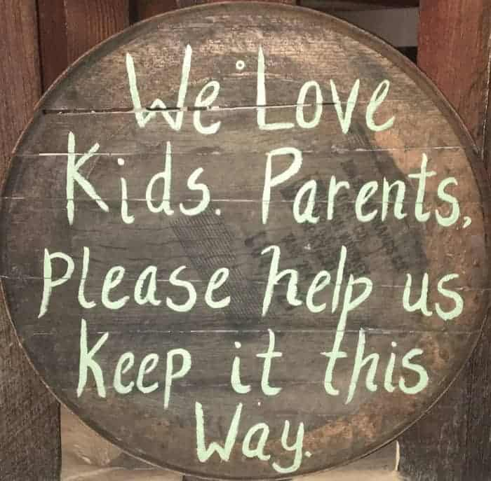 Tumbleroom taproom loves kids... Who behave, according to this sign they hang.