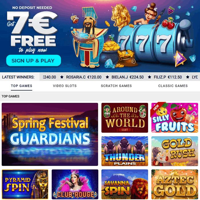 No Deposit Bonus: 7 EUR FREE on Scratch Cards!