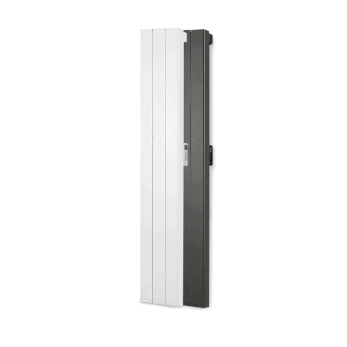 Rointe Palaos tall vertical radiators in white and black with 3 heating elements