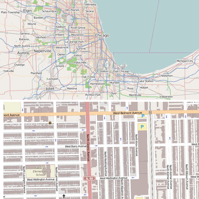 Small scale map showing Chicago (upper map) and a large scale map showing a neighborhood in Chicago (lower map).