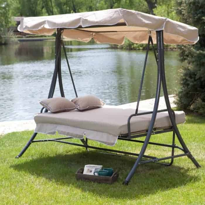 15 Beautiful Hanging Swing Beds - Portable patio bed. Outdoor home decorating ideas.