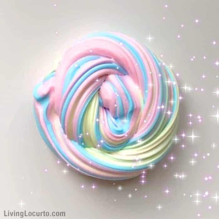 How to make a Rainbow Unicorn Fluffy Slime Recipe. An easy recipe for homemade fluffy slime. LivingLocurto.com