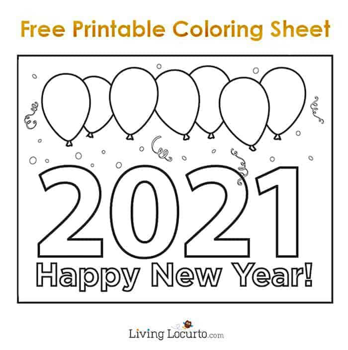 2021 New Years Eve Free Coloring Sheet for Kids