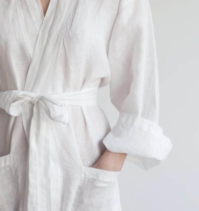 linen robe, robe, white linen robe