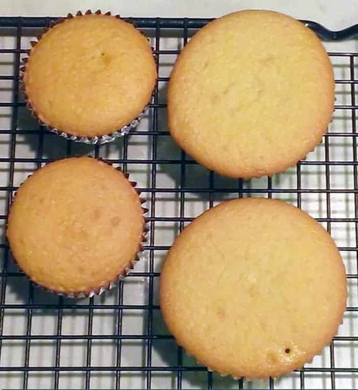 Cupcakes baked in foil cupcake liners in a muffin pan and on cookie sheet.