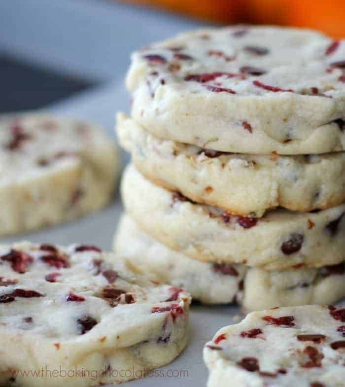 Holiday Cranberry Orange Shortbread Cookies