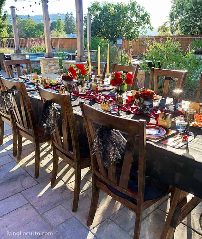 Fun Halloween Party Ideas for a Witch's Night Out! Inspiration for hosting an epic gothic Witch Halloween Party. Outdoor Party Table