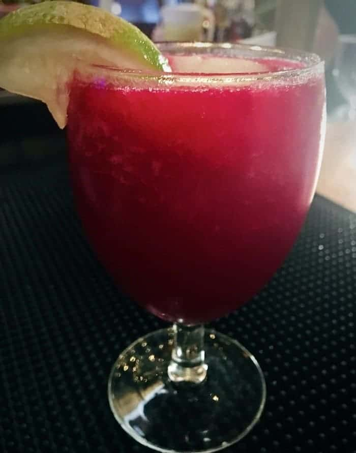 A pink prickly pear margarita at the shed