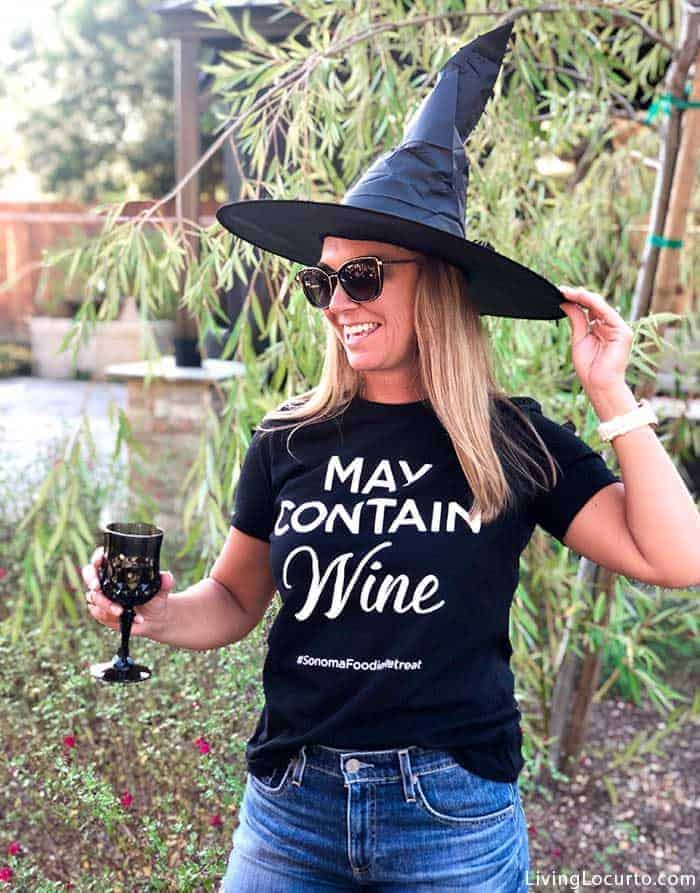 May Contain Wine Shirt - Halloween Party Ideas for a Witch's Night Out! Inspiration for hosting an epic gothic Witch Halloween Party.