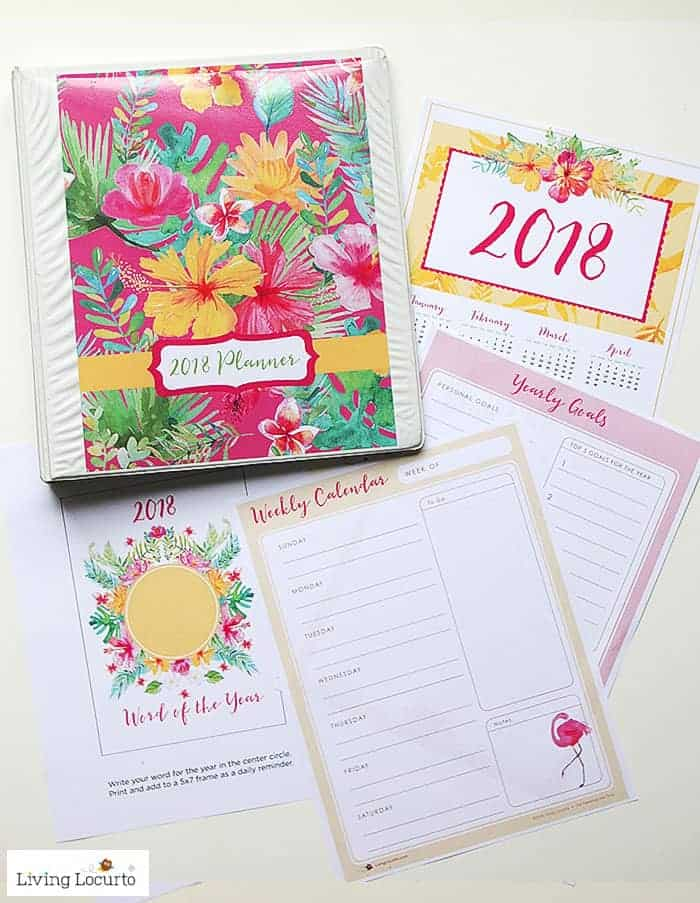 DIY 2018 Planner. Tropical Pink Floral Printable Planners, Calendar and lists. LivingLocurto.com