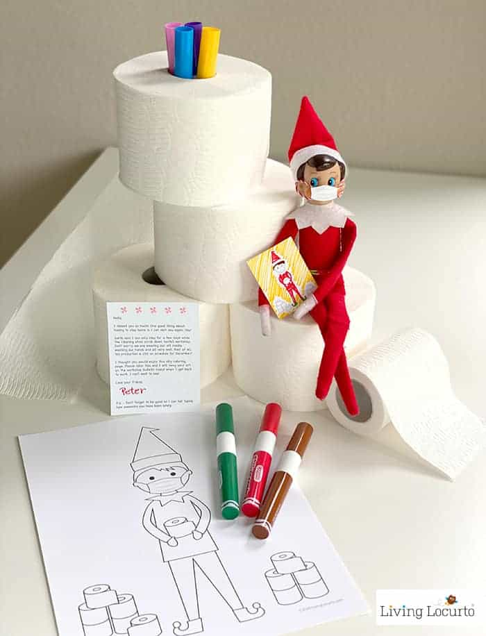 Elf Free Printable Coloring Page and Face Mask