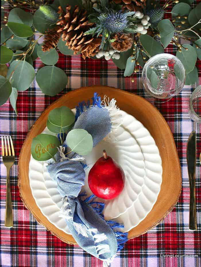 Plaid Christmas Table Decorations | Eucalyptus and fruit holiday tablescapes. LivingLocurto.com