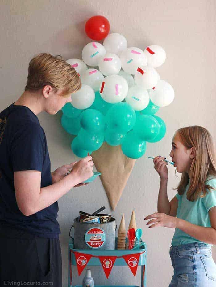 Ice Cream Social Party Ideas and DIY Ice Cream Cone Balloon Backdrop. LivingLocurto.com